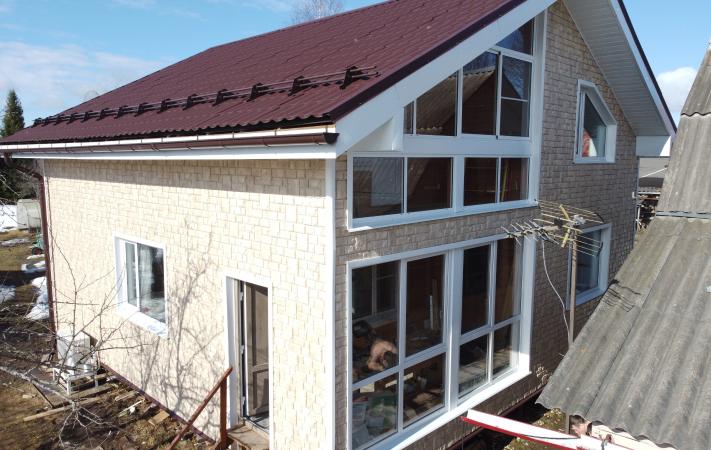 Отделка фасадными панелями дома 179 м² - результат